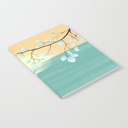 Delicate Asian Inspired Image of Pastel Sky and Lake with Silver Leaves on Branch Notebook