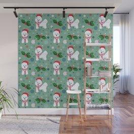 Bichon Frise dog Christmas pattern Wall Mural