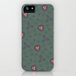 Bohemian Peacock and Leaf Thread Weave Pattern \\ Yellow Green Blue Purple Color Scheme iPhone Case