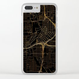 Black and gold Atlanta map Clear iPhone Case
