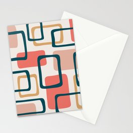 Mid Century Modern Abstract Squares Pattern 440 Stationery Cards
