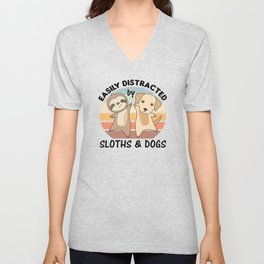 Easily Distracted By Sloths And Dogs Labrador Unisex V-Neck