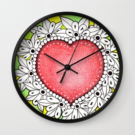Watercolor Doodle Art | Heart Wall Clock