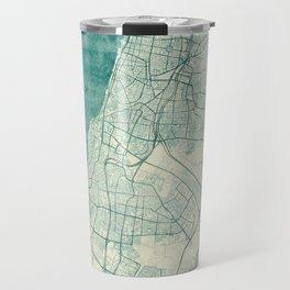 Tel Aviv Map Blue Vintage Travel Mug