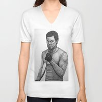 dexter V-neck T-shirts featuring Dexter by Jack Kershaw