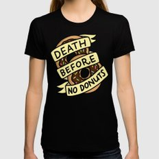 Death Before No Donuts X-LARGE Black Womens Fitted Tee