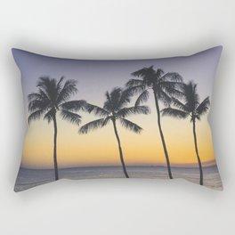 Palm Trees w/ Ombre Tropical Sunset - Hawaii Rectangular Pillow