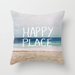 My Happy Place (Beach) Throw Pillow