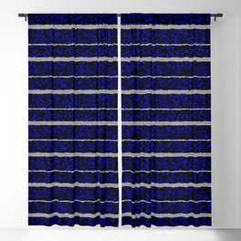Silver Stripes with a Blue Plasma Background Blackout Curtain