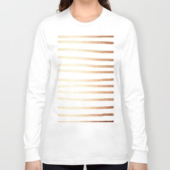 Simply Drawn Stripes Deep Bronze Amber Long Sleeve T-shirt
