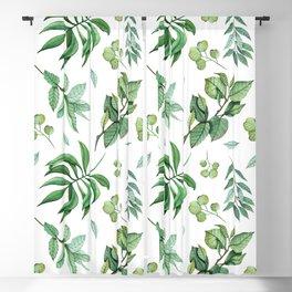 Elegant Green Leaves Pattern Blackout Curtain