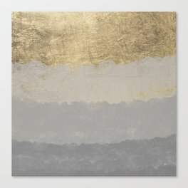 Geometrical ombre glacier gray gold watercolor Canvas Print