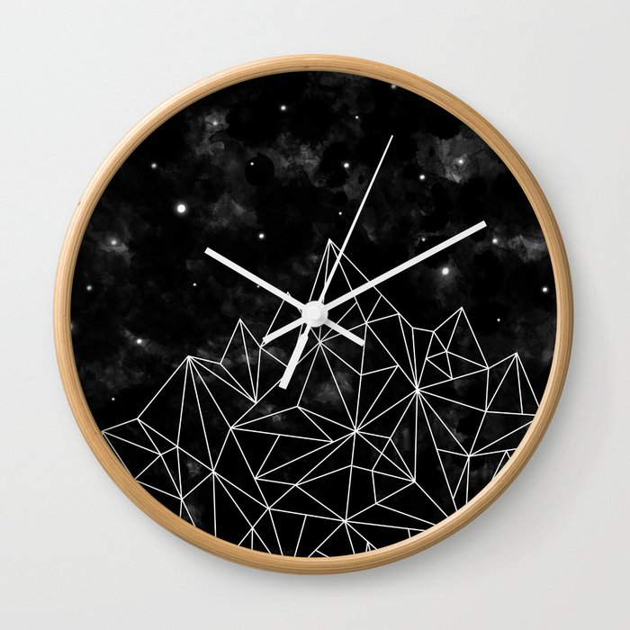Geometric Mountain Black White Wall Clock