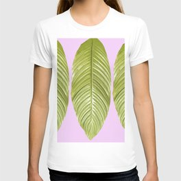 Three large green leaves on a pink background - vivid colors T-shirt