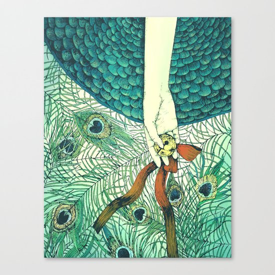 Golden bell and peacock feathers Canvas Print