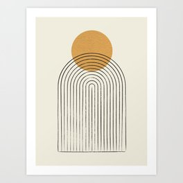 Gold Sun rainbow mountain Art Print