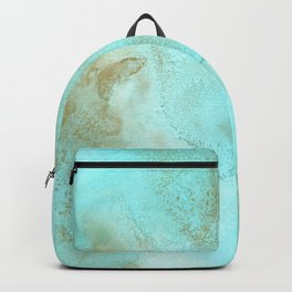 Gold and turquoise abstract ink art Backpack