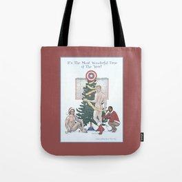 Team Cap Naughty Pinup Holiday Card Tote Bag