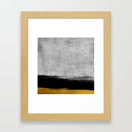 Black and Gold grunge stripes on modern grey concrete abstract backround I - Stripe - Striped Framed Art Print