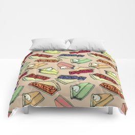 Easy As Pie - cute hand drawn illustrations of pie on neutral tan Comforters