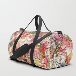 Summer Flowers | Colorful Watercolor Floral Pattern Abstract Sketch Duffle Bag