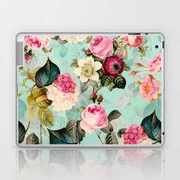 Vintage & Shabby Chic - Summer Teal Roses Flower Garden Laptop & iPad Skin