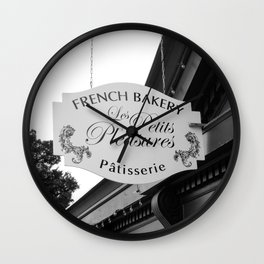 French Bakery Sign - Black and White Wall Clock