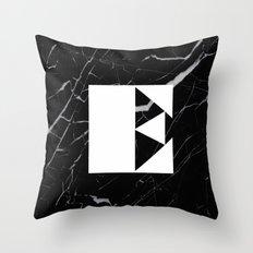 Black Marble - Alphabet E Throw Pillow