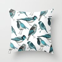 yetiland Throw Pillows featuring pale green birds by Polkip