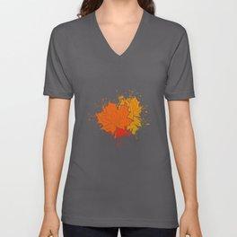 Autumn Fall Leaves Unisex V-Neck