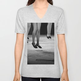Live with both feet off the ground, inspirational dance black and white photography - photographs Unisex V-Neck