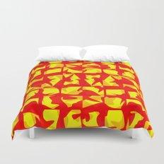 red shapes Duvet Cover