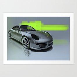 Porsche 911 Digital Painting   Automotive   Car Art Print