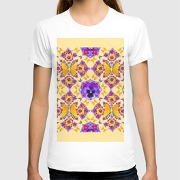 PURPLE PANSIES & GOLD  BUTTERFLIES KALEIDOSCOPE CREAM T-shirt