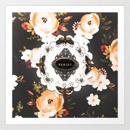 resist moths on dark floral Art Print