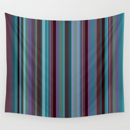 Retro Stripe in Blueberries and Orchids Wall Tapestry
