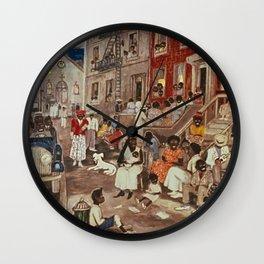 African American Masterpiece 'Midsummer Night in Harlem 1936' by P. Hayden Wall Clock