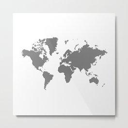 World with no Borders - true gray Metal Print