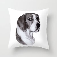 beagle Throw Pillows featuring Beagle by Danguole Serstinskaja