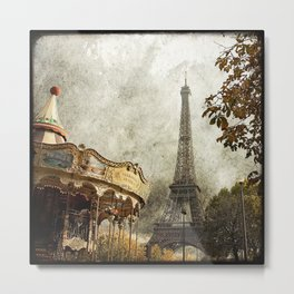 The Carousel and the Eiffel Tower - Paris Metal Print
