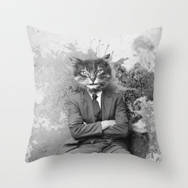 Vintage Black and White Gangster Cat Throw Pillow