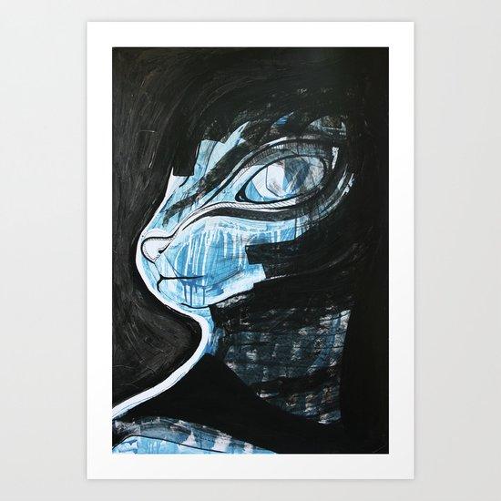 Cat Blue Art Print
