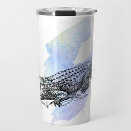 Florida Alligator on Purple Blue Green Watercolor Travel Mug