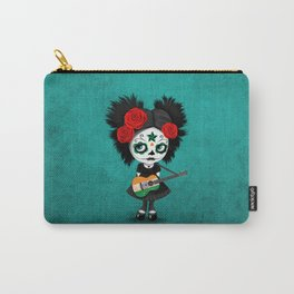Day of the Dead Girl Playing Indian Flag Guitar Carry-All Pouch