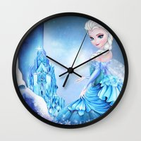 frozen elsa Wall Clocks featuring ELSA by Annya Kai