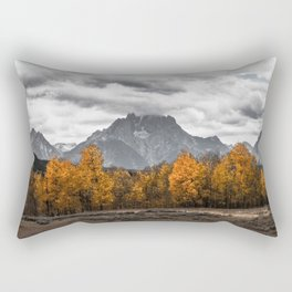 Teton Fall - Autumn Colors and Grand Tetons in Black and White Rectangular Pillow