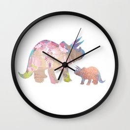 Fairytale Pink Castle Copper Glitter Dinosaur Wall Clock