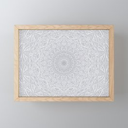 Most Detailed Mandala! Cool Gray White Color Intricate Detail Ethnic Mandalas Zentangle Maze Pattern Framed Mini Art Print