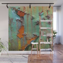 Flaking Paint on Rust Wall Mural