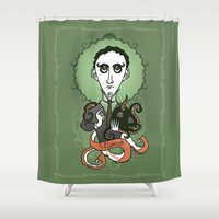 lovecraft Shower Curtains featuring Lovecraft Holy Writer by roberto lanznaster